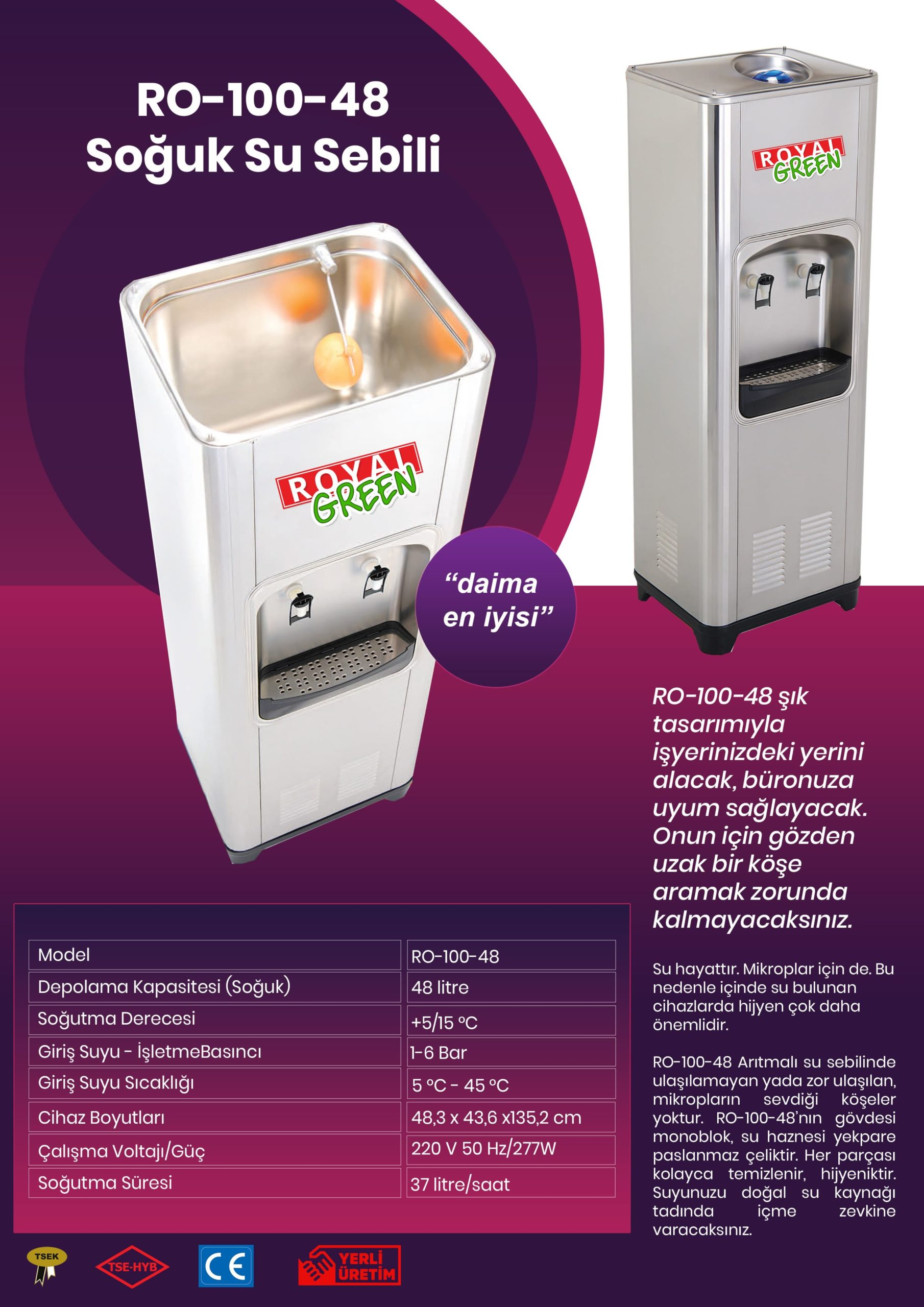 RO-100-48 Arıtmalı Soğuk Su Sebili