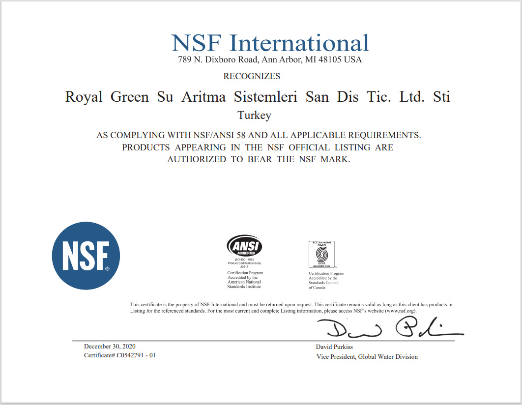 Royal Green NSF 58 Sertifikası